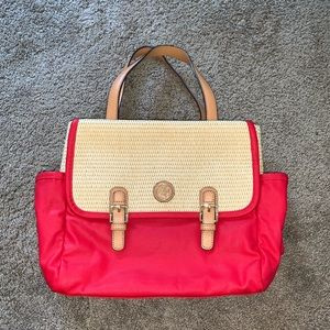 Tory Burch red coated canvas and wicker tote